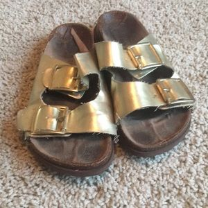 Madden Girl Shoes - Madden girl gold birkenstocks